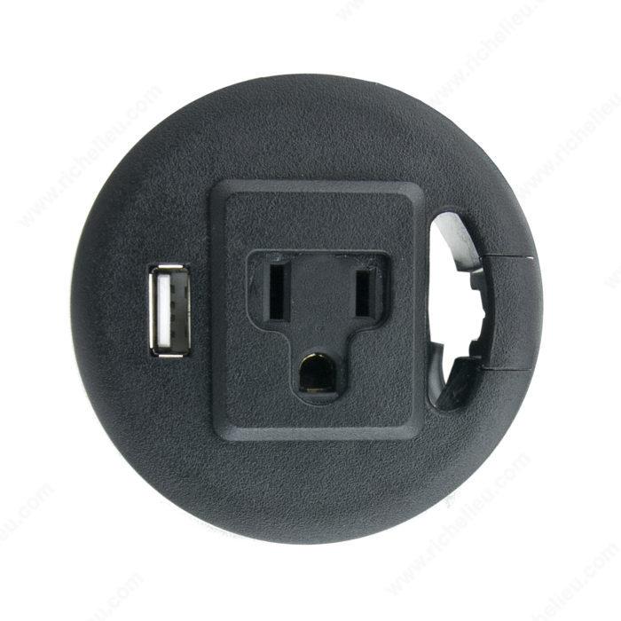 passe c ble avec 1 port usb de recharge et 1 prise lectrique richelieu ergo. Black Bedroom Furniture Sets. Home Design Ideas