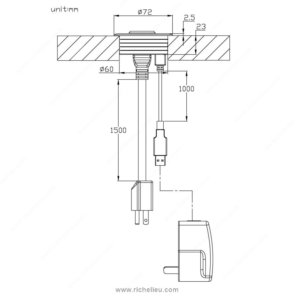 Diametre Scie Cloche Prise De Courant passe-câble avec 1 port usb de recharge et 1 prise