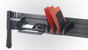 Above-Desk Slatwall Storage System